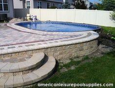 American Leisure Pool Supplies - The Ultimate Above Ground Swimming Pool - Above or Inground application good idea would look great with exposed aggregate concrete too Above Ground Pool Landscaping, Above Ground Pool Decks, Backyard Pool Landscaping, Backyard Pool Designs, Above Ground Swimming Pools, In Ground Pools, Landscaping Tips, Patio Design, Oberirdische Pools