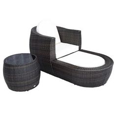 [GBP £249.99]Outsunny 3Piece Rattan Round Sofa Seat with Footstool and Side Table in Brown Colour