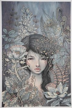 "Where I Rest - by Audrey Kawasaki 2011. Open edition 15"" x 23"" (38 x 58cm) Giclee on white art paper Signed in pencil"