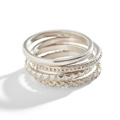 Sterling Silver Stacking Ring ($25) ❤ liked on Polyvore featuring jewelry, rings, stacking ring, leaf jewelry, sterling silver bead jewelry, leaves ring, beading jewelry e stackable rings