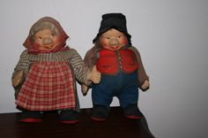 "Handmade Pair Of Vintage Dolls 11"" Old Man and Woman Russian? #Dolls"