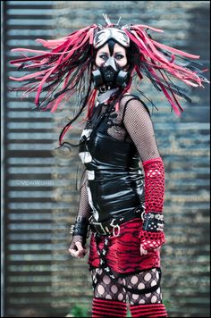 #Cybergoth girl with red and black dreads