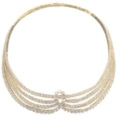 Van Cleef & Arpels Draped Diamond Necklace | From a unique collection of vintage multi-strand necklaces at http://www.1stdibs.com/jewelry/necklaces/multi-strand-necklaces/