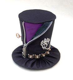 Tiny Top Hat: Punk Dragon - Purple Black zipper dragon snake chain Cosplay costume Lolita Punk Dark Goth Gothic. $25.00, via Etsy.