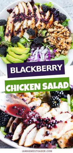 A healthy and easy salad full of texture loaded with fresh and juicy blackberries and drizzled over with a blackberry balsamic vinegar dressing! Perfect for weight watchers, this sweet and savory salad recipe needs to be on your dinner table! Salad Recipes For Dinner, Dinner Salads, Chicken Salad Recipes, Healthy Salad Recipes, Meat Recipes, Healthy Salad For Lunch, Cherry Salad Recipes, Healthy Summer Dinner Recipes, Savory Salads