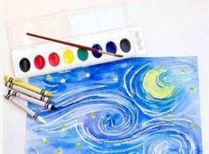 Kids Art Projects, Art Drawings Simple, Starry Night, Artist Inspiration, Art Drawings, Van Gogh, Creative, Drawing Tutorial, Artwork