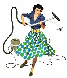Housecleaning in the 50's | #Vintage #vacuuming | From Roger Wilkerson, The Suburban Legend on Tumblr