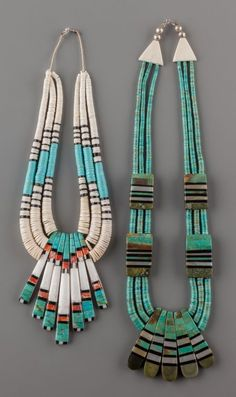 American Indian Art:Jewelry and Silverwork, TWO SANTO DOMINGO STONE AND SHELL NECKLACES
