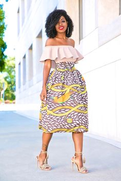 Style Pantry | Frill Off Shoulder Top + Printed Stella Jean Midi Skirt