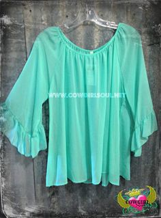 Sheer Ruffle Sleeve Top In Mint Small-Large  $26.00 http://www.cowgirlsoul.net/catalog.php?item=1558