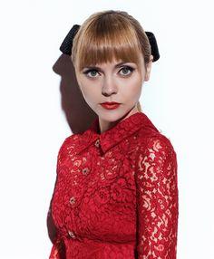 Christina Ricci wears red lace dress for S Moda magazine February 2016