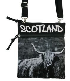 Oliver Strappy Bag with Highland Cow and Scotland Graffiti