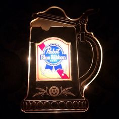 JUST LISTED! #Pabst Blue Ribbon Beer Light-up Wall Hanging Sign. Ready to ship to your #bar or #Mancave #PBR #beer