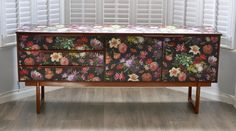 """Upcycled Vintage Retro Sideboard Decoupage in a Dutch """"Renaissance"""" Style Floral Print, Teak Sideboard, TV Cabinet by ThriftysRetro on Etsy Upcycled Vintage, Retro Vintage, Teak Sideboard, Danish Style, Renaissance Fashion, Tv Cabinets, Upcycled Furniture, Unique Home Decor, Mid Century"""