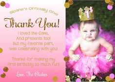 First birthday matching thank you card the big one diy printable say thank you to your son or daughters first birthday party guest with this adorable pink ombre and gold glitter thank you card bookmarktalkfo Gallery