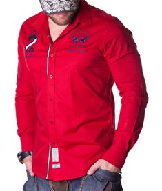La Martina Maserati 2 Polo Team Shirt - Red Color: red Lined collar and placket La Martina branded buttons La Martina logo embroidery on the left chest side. Maserati, Polo Bordado, Polo Team, Red Long Sleeve Shirt, Team Shirts, Shirt Style, Motorcycle Jacket, Shirt Dress, Mens Tops