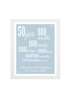 50th anniversary gift - personalised anniversary print- anniversary present- custom 50th anniversary-golden wedding anniversary on Etsy, $25.61