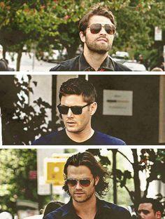 Misha Collins, Jensen Ackles, and Jared Padalecki. #Supernatural #sunglasses #hotties