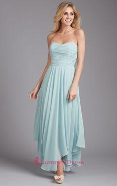 Light Blue Ankle Length Sweetheart Chiffon Ruffle Bridesmaid Dress