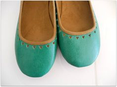 AZTEC Ballet Flats  Leather Shoes  38 Sea green by lolliette, $99.00