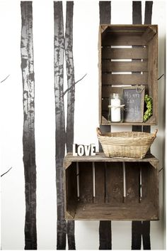 painted trees & old wood crates. Love!