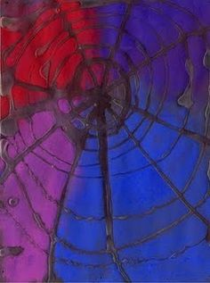 Glue and chalk pastel spider web!  Easy and very cool looking :)