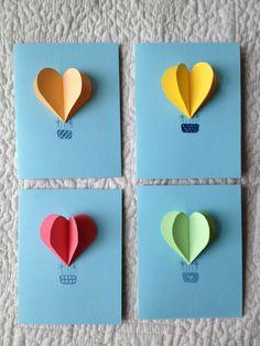 Heart Hot Air Balloon Cards- set of 4. $6.00, via Etsy.