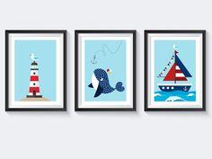 Maritime Deko, Bilder   A4 Bilderset Kinderzimmer Poster Maritim Posterset    Kinder Poster Tiere,