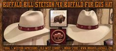Stetson Buffalo Bill (4X) Buffalo Fur Hat With Thick Buffalo Tie-Back Hat Band from Tribal And western Impressions - Old West Cowboy And Indian Store - www.indianvillagemall.com