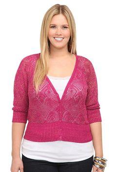 Fuchsia With Metallic Pointelle Cardigan | Sweaters