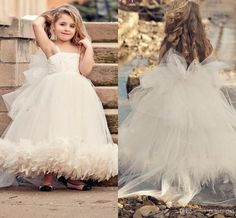2014 Ready To Ship Flower Girls Dress Spaghetti Sleeveless Ankle Length Feather Applique Tiers Hand Made Flowers Flower Girls Dresses, $65.9   DHgate.com