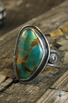 Deep Green Royston Turquoise Navajo Sterling Silver Ring by Bryan Sanchez - Turquoise Skies
