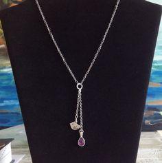 Purple gemstone Y Necklace with bird charm