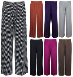 New-Ladies-Plus-Size-Palazzo-Trousers-Womens-Baggy-Wide-Leg-Stretch-Pants-12-26