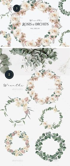 Watercolor Roses and Orchids Wreaths by BolshoyMaArt | GraphicRiver Wreath Watercolor, Watercolor Rose, Background Images Wallpapers, Paint Set, Orchids, Wedding Invitations, Roses, Clip Art, Hand Painted
