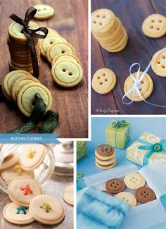 Button Cookies - Inspiration for a DIY. Shortbread or Sugar Cookie Recipe works to make these. I think these are so giftable. Button Cookies - Inspiration for a DIY. Shortbread or Sugar Cookie Recipe works to make these. I think these are so giftable. Cookies Cupcake, Cute Cookies, Sugar Cookies Recipe, Cookie Recipes, Dessert Recipes, Cupcakes, Drop Cookies, Button Cookies, Shortbread