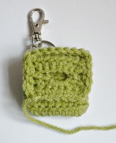 Materials: * Worsted weight acrylic yarn * crochet hook * inch button * Swivel clasp with split ring * stitch markers (I us. Diy Crochet Coin Purse, Crochet Hooks, Free Crochet, Crochet Earrings, Mini Handbags, Split Ring, Stitch Markers, Key Rings, Free Pattern