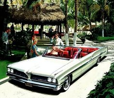 1961 Pontiac Bonneville Convertible - 'Acapulco Club': Art Fitzpatrick and Van Kaufman Vintage Cars, Antique Cars, Vintage Auto, 1950s Car, Pontiac Cars, Pontiac Bonneville, Car Illustration, Illustrations, Truck Design