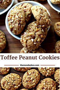 Toffee Peanut Cookies are crunchy peanut butter cookies coated in bits of chopped peanuts and toffee. These gourmet peanut cookies are… Peanut Butter Cookies, Chocolate Chip Cookies, Sugar Cookies, Fridge Cake, Cream Biscuits, Butter Toffee, Toffee Bits, Cookie Recipes, Dessert Recipes