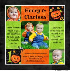 Twin First Birthday HALLOWEEN   Twins Costume Party Birthday Invitation - Pumpkins, Spiders, Candy