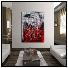 RED BLACK and white painting abstract art Large by largeartwork