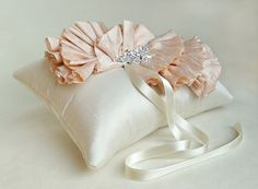 `Blush Pink Silk Ruffle Ring Bearer Pillow by EmiciBridal on Etsy, $120.00