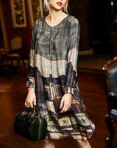 #AdoreWe #VIPme Shift Dresses - QILI Classic Multicolor Shift Long Sleeve Midi Dress - AdoreWe.com