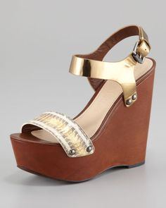Jamaya Metallic Snake Wedge Sandal by Vera Wang Lavender at Neiman Marcus.