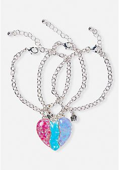 New Arrive Bff Heart Bracelet Trio Sweet Enamel Pink/blue Magnetic Broken Heart Charms For Girl Bff Bracelets, Bff Necklaces, Best Friend Necklaces, Best Friend Jewelry, Heart Bracelet, Glitter Chevron, Bff Shirts, Magical Jewelry, Friendship Necklaces