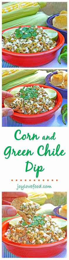 Corn and Green Chile Dip — the sweet, salty and spicy flavors of Mexican street corn in a delicious dip, perfect for your next party, game day or snack anytime.