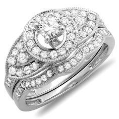 1.00 Carat (ctw) 10K White Gold Round Diamond Ladies Vintage Look Wedding Ring Set 1 CT (Size 4.5)