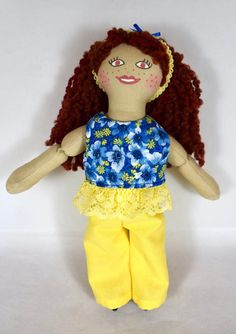 Toy Redhead Girl Doll With Freckles - For Kids - Handmade Handmade Dolls, Etsy Handmade, African American Dolls, Dress Up Dolls, Asian Doll, Cat Doll, Redhead Girl, Yellow Lace, Collector Dolls