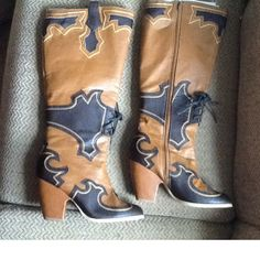 Check out AMAZING TALL KNEE CUTOUT RIDING WESTERN COWBOY BOOTS sz 8 on Threadflip!