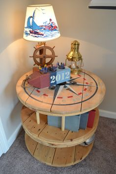 Double tiered... nautical wooden spool table/bookcase by The1829Farmhouse on Etsy, $175.00